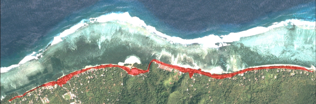 Extent of coastal inundation experienced along the Tafunsak coastline, 8 December 2008 (Image created by Blair Charley, KIRMA)