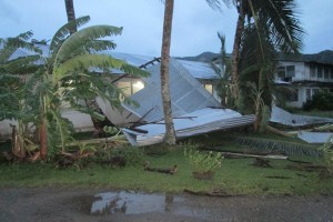 Wind damage in Lelu (Photo courtesy of Kosrae DCO)