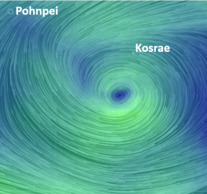 Wind pattern due to Tropical Depression 07 currently located to the south of Kosrae