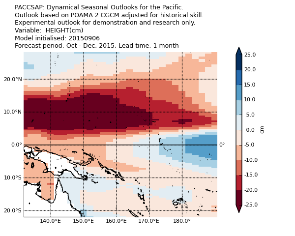 Sea-level forecasts for October to December for the western Pacific. Source: http://poama.bom.gov.au/experimental/pasap/sla.shtml